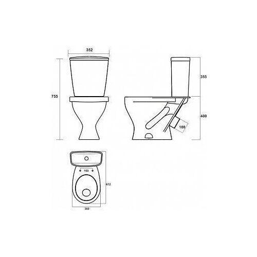 Унитаз-компакт Sanita Эталон ETLSACC01090113, эконом, крышка-сиденье, антивсплеск