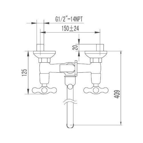 """Смеситель для ванны / душа, """"Смарт-кросс"""", хром, SM110002AA_R, Smart"""