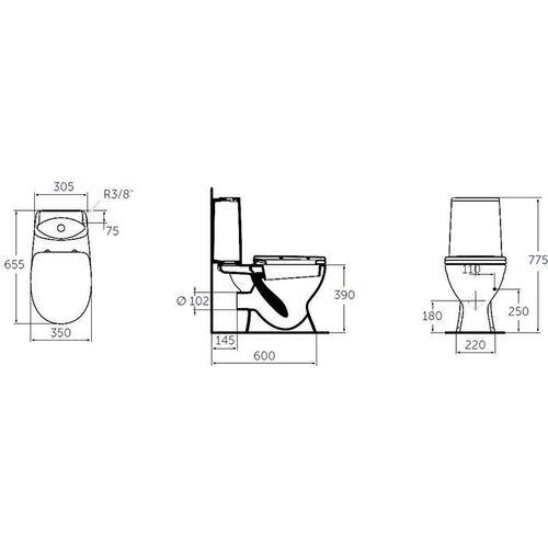 """Унитаз-компакт """"Океан-джуниор скандинавиан"""", сиденье и Крышка с микролифтом, нижняя подводка, белый, W909701, Ideal standard"""