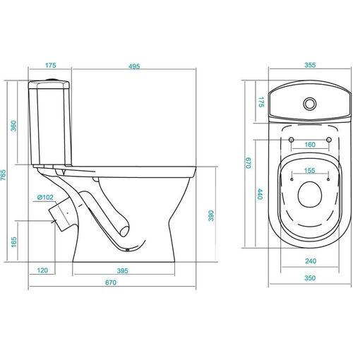 "Унитаз-компакт ""Алькор"" антивсплеск, 2-режима, дюропласт, металлический крепеж ,W909001-5, Santek"