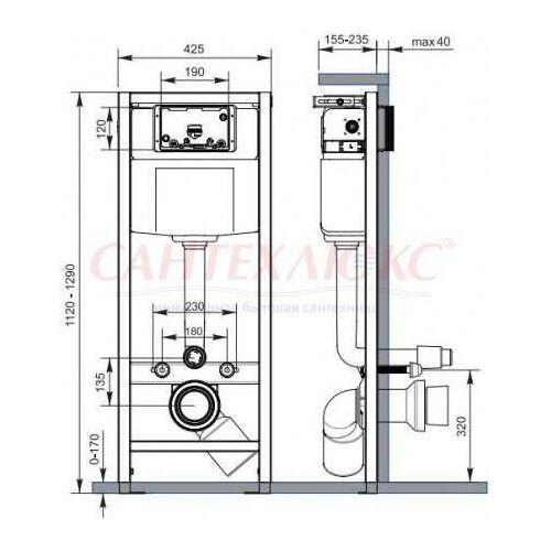 Инсталляция для подвесного унитаза Hi-Tec, K97-255, Cersanit