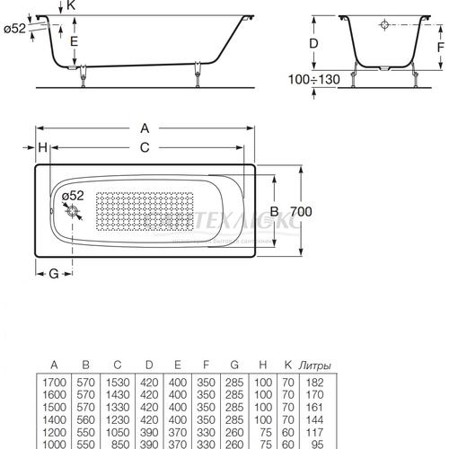 Чугунная ванна Continental без противоскользящего покрытия, 150х70, 7212903001, ROCA